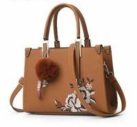Women's Flowers Shell Shoulder Bag Tote Sac A Main Rivets Fur Ball Pendants Gift