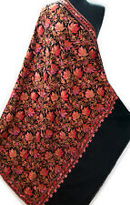 Shades of Pink Coral Chinar Leaves Crewel Embroidery on Large Black Wool Shawl