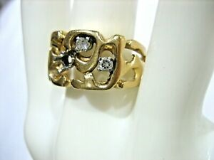 VINTAGE 14K YELLOW GOLD DIAMOND MEN'S RING SIZE 9 FOR REPAIRS