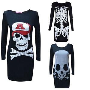 Womens Ladies Long Sleeve Halloween Skulls Skeleton Skat Tunic Top Dress  Lot