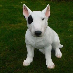 Gartenfigur Hund Bullterrier 40cm sitzend 3335 Garten Deko Figur