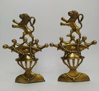 """Brass Medieval Knight's Helmet w/Crown & Lion Bookends King Royal 8.5"""" Gold"""