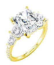 4 ct Diamond Engagement Wedding 14 Yellow Gold Ring, Radiant Cut 3 ct