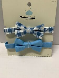 Cloud Island Boy's 2 Pack Ties NB 0+ Light Blue Blue Plaid New