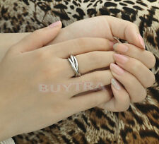 Silver Plated Triple Interlocked Rolling Wedding Band Ring Adjustable HV
