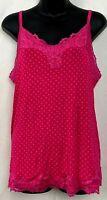 Lane Bryant Womens Camisole Tank Top Pink Orange Polka Dot Lace Adjustable 14/16