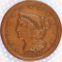 "1853 ""BRAIDED HAIR"" HALF CENT, VERY CHOICE AU, TOUGH DATE, CLASSIC COPPER, HOT!"