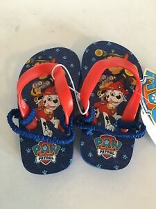 Paw Patrol Boy's Toddler Small 5/6 Blue Graphic Rescue Dogs Flip Flops NWT