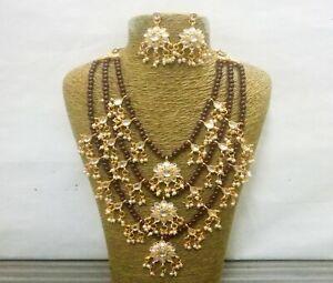 Gold Plated Hyderabadi Kundan Necklace Multi Layer Pearls Bridal Rani Haar Set