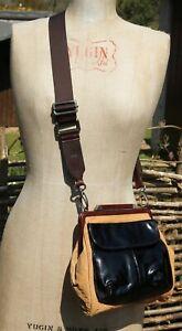 MARNI Messenger Cross Body Bag - Black Patent & Brown Tan Leather