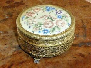 Gorgeous Vintage Gilt Jewellery/Trinket Box with Embroidered Floral Panel 1950's