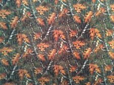 "Real tree autumn oak leaves camo timber scenic woods fleece fabric, 60""w, BTY"