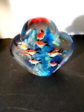 MURANO Style Art-Glass 6-FISH AQUARIUM STYLE PAPERWEIGHT DISPLAY