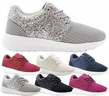 Ladies Women Jogging Running Fitness Glitter Shock Absorbing Trainers Shoes Size