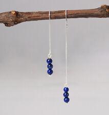 F04 Earring Threader Silver 925 with 3 Balls Made of Lapislazuli