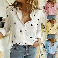 Women Summer Cotton Linen Birds Print Top Blouse Ladies Button T-Shirt Plus Size