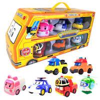 6pcs Robocar Poli Roy Amber  Robot Action Figures Car Bus kids Xmas Gifts