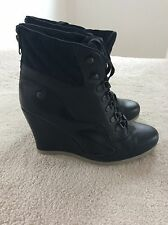 Women's Reebok Alicia trainers wedge boots hi tops black size 6 leather