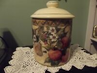 Cookie Jar Canister Fruit Stoneware Susan Winget Cream with olive green