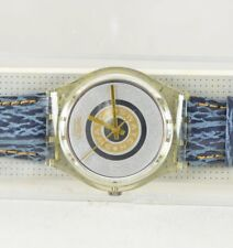 Swatch Classic Blue Band Silver Gold Face Watch New In Box NOS G104/SW1.48