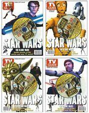 2008 TV Guide Star Wars Clone Wars 4 Cover Set Yoda Anakin Obi-Wan C-3PO!