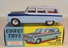 CORGI TOYS 424 FORD ZEPHYR ESTATE CAR bleu clair bleu foncé top état neuf dans sa boîte #5030