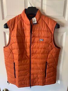 NWT Johnnie-O Men's Hudson Puffer Vest in Rust Orange Size XL Packable
