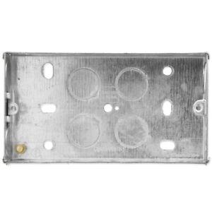 2 GANG METAL BACK BOX Double 25mm Flush Wall Socket Light Switch Pattress Plate