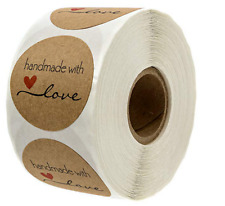 Kraft Round Homemade with Love Stickers (2.5cm) Red Love Heart