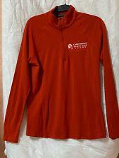 Ibex Women's Half Zip second layer Ls Blood Orange with Denali logo sz L