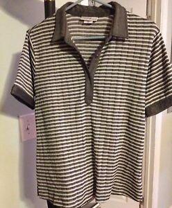 Cutter & Buck Golf Top Sz Medium Grey Stripe Knit Stretch Short Sleeve Collar