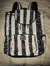 Victorias Secret PINK Sequins Bling Striped Backpack LIKE NEW NO FLAWS