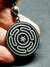 Hecate's Wheel Pendant Strophalos Hecate Magic Symbol Beaded Cord Necklace Steel
