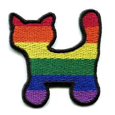 """RAINBOW KITTY CAT IRON ON PATCH 2"""" Gay Lesbian LGBT Pride Embroidered Flag NEW"""