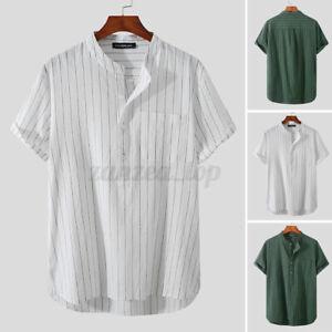 UK Men's Casual Striped Shirts Baggy Shirt Tee Top Hippie Cotton Formal T Shirt