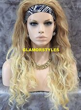 "29"" Long Layered Wavy Blonde Mix Heat Ok 3/4 Half Fall Wig  Hair Piece #27/613"