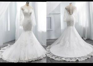 New White Ivory Lace Long Sleeve Mermaid Wedding Dress Size 12 real Image