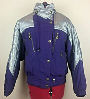 EVF Rodeo - Ladies Purple & Silver Retro Ski Jacket - Size 12 - Vintage C&A 80s