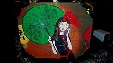 Romeo Roma Cigar Box Purse Girl with Parasol Bead Design & Leopard Lining  NEW