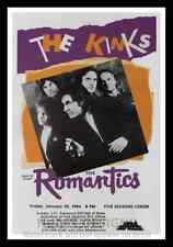 """Framed Vintage Style Rock 'n' Roll Poster """"THE KINKS & THE ROMANTICS"""";12x18"""