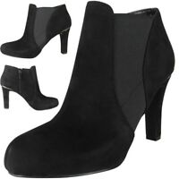 New Womens Ladies Faux Suede Zip High Heel Work Ankle Chelsea Boots Shoes Size