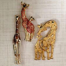 Fashion Giraffes - Gold Tone & Enamel Giraffe Brooches/Pins - 2 Signed