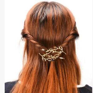 Women Branch Hairpin Barrette Hair Pins Clip Leaves Head Dress Hair Decor FW