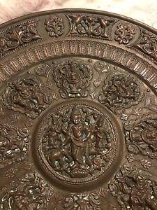 Antique Indian Tanjavur Bronze Offering Plate, Hindu