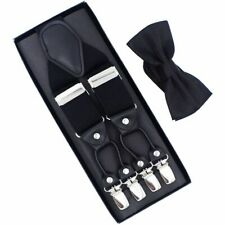Men Suspenders Set Leather Six Clips Braces With Bow Tie Casual Strap Trousers