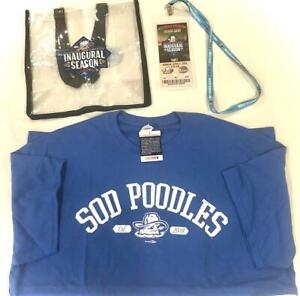 AMARILLO SOD POODLES XL T SHIRT TOTE BAG & LANYARD w/ TICKET STUB & SLEEVE, NEW