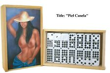 "On Sale !! Domino Set Double Nine ""Piel Canela"" Oil painting on Top."
