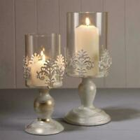 PILLAR CANDLE HOLDERS GLASS DOME HOLDER DECORATIVE CHRISTMAS BEST V4U6
