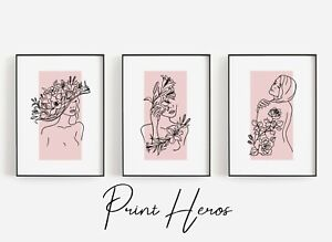 Set of 3 Minimalist Pink Nude Art Prints Poster Living Room Bedroom  Fashion