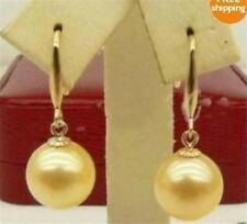 Round 12mm Gold South Sea Shell Pearl Drip Dangle Earrings Grade JE3